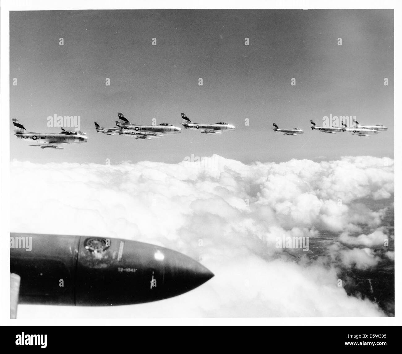 North American F-86A 'Sabres' of the 196th FIS, CALIF-ANG (Ontario). - Stock Image