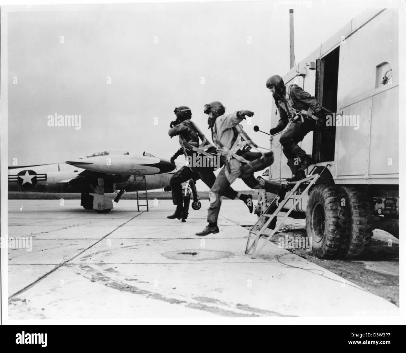 Republic F-84 scramble. - Stock Image