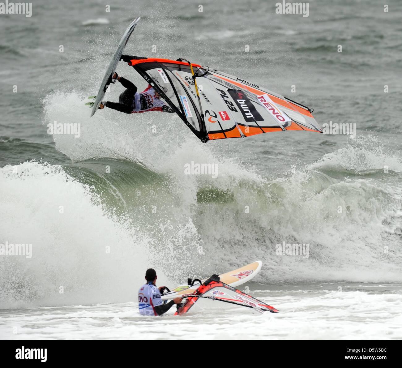 Polish windsurfer Maciek Rutkowski (above) surfs on North