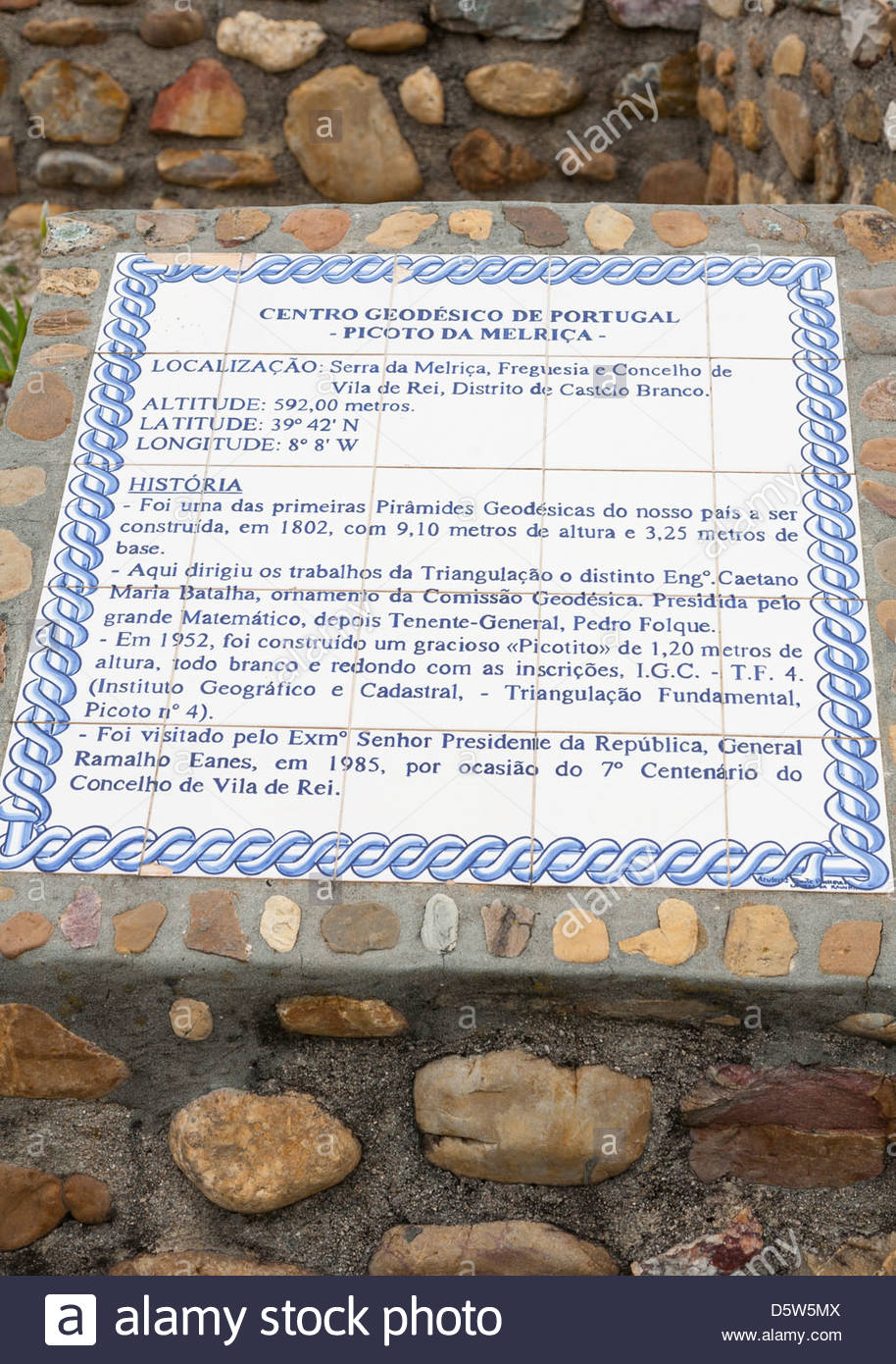 Painted tiles providing information at Vila de Rei the Geodesic centre of Portugal - Stock Image