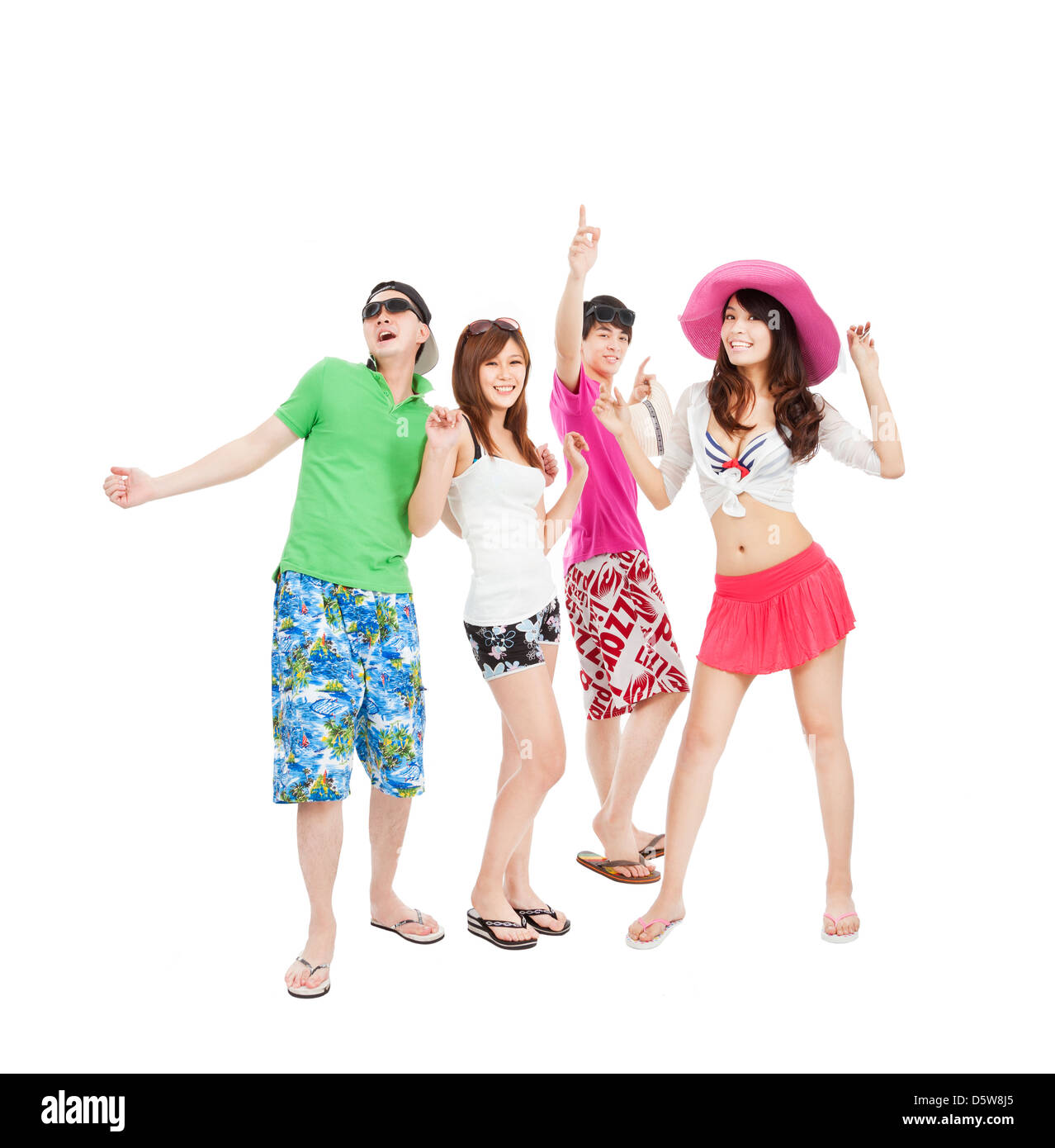 Group of summer young people dancing together - Stock Image