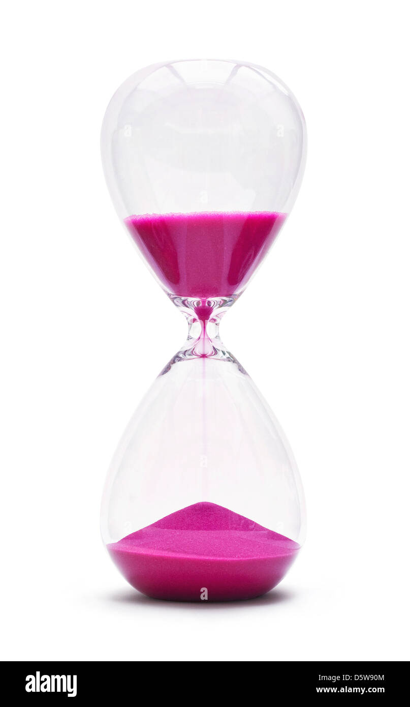 An hourglass showing the sands of time passing cut out on a white background - Stock Image