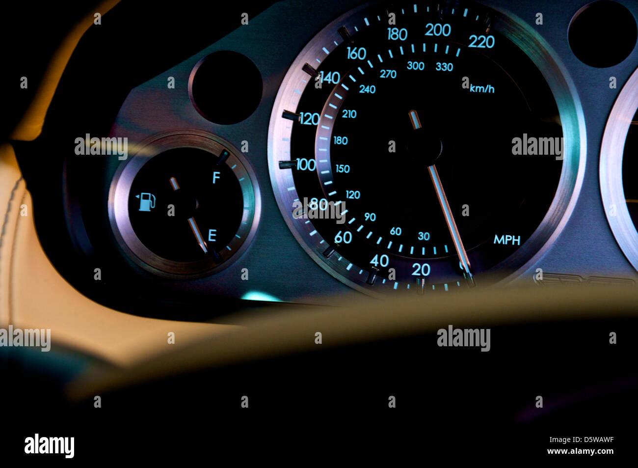 aston martin dash board showing the speedometer - Stock Image