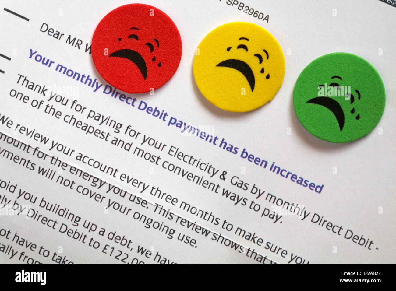 Letter from utility company advising monthly direct debit payment has been increased for electricity and gas with - Stock Image