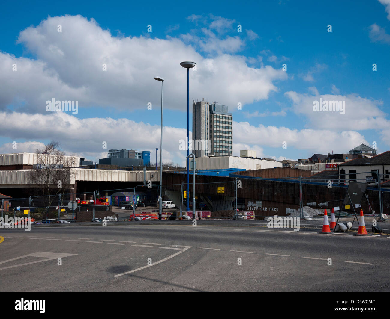 Distant view of Oldham Civic Centre Local Government Offices, Oldham, Greater Manchester, UK. - Stock Image