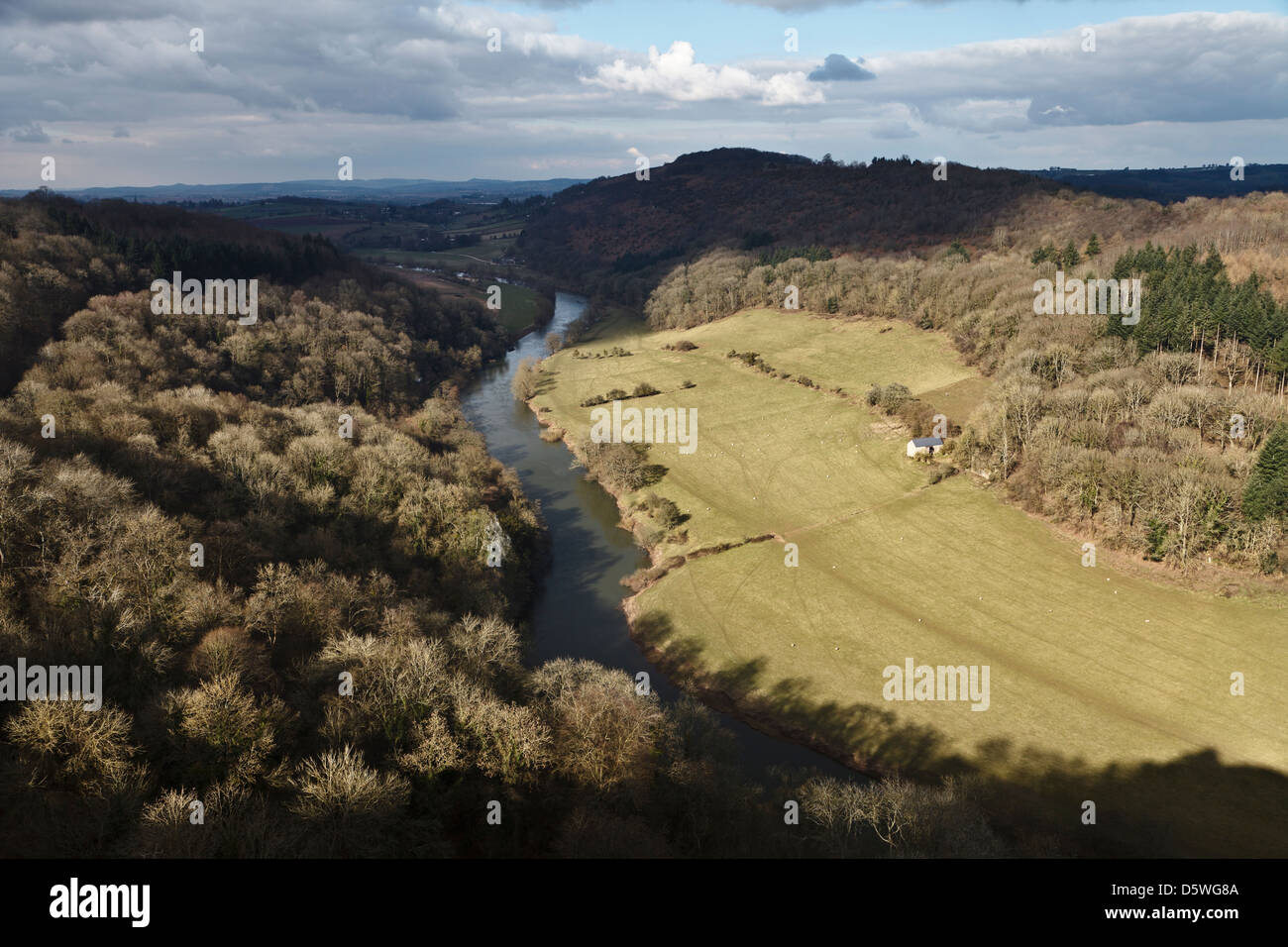 River Wye from Yat Rock, Symonds Yat, Forest of Dean, Gloucestershire, England - Stock Image
