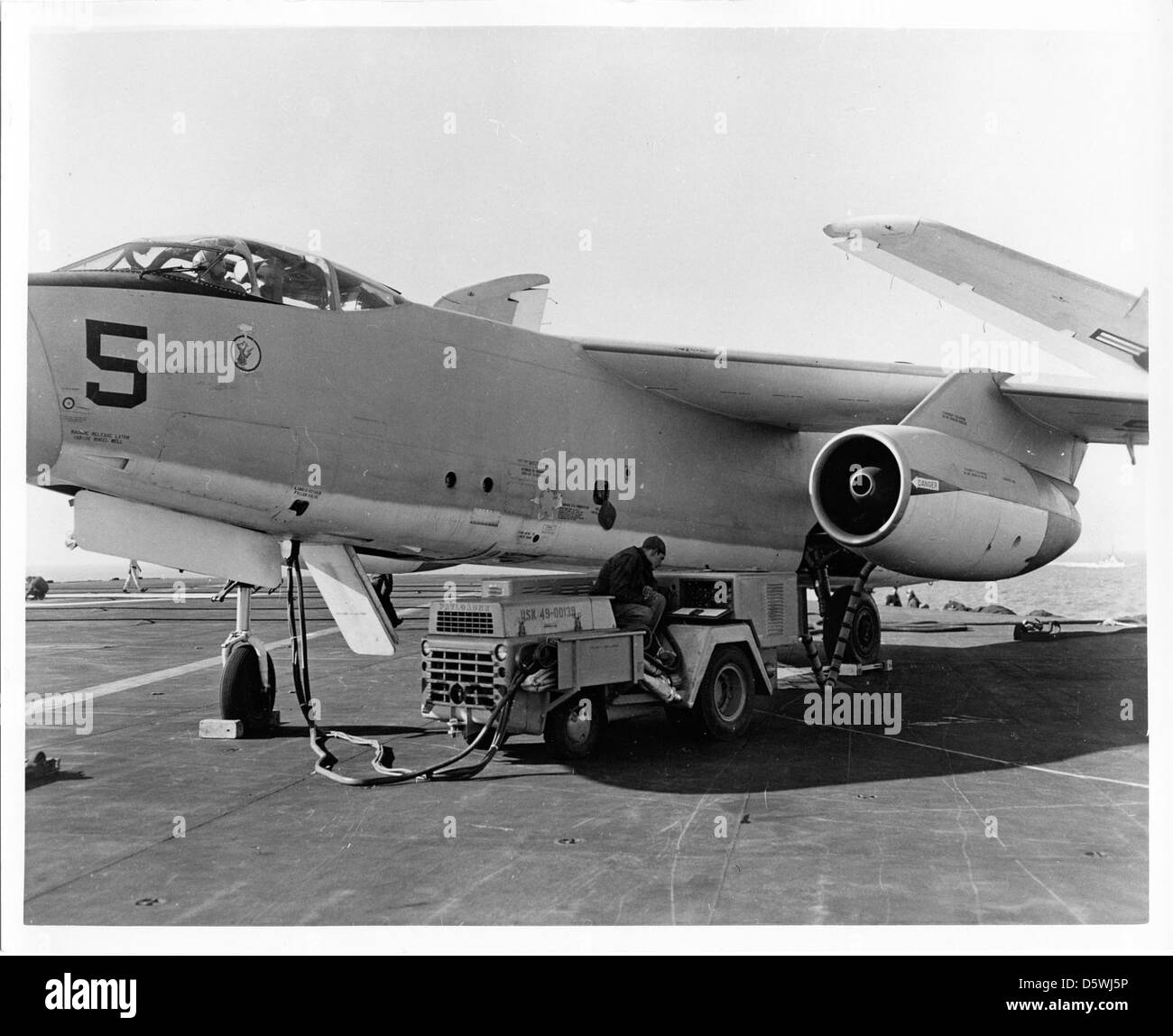 Douglas A3D-1 'Skywarrior' of Heavy Attack Squadron one (VAH-1) 'Smokin Tigers' aboard the USS FORRESTAL - Stock Image