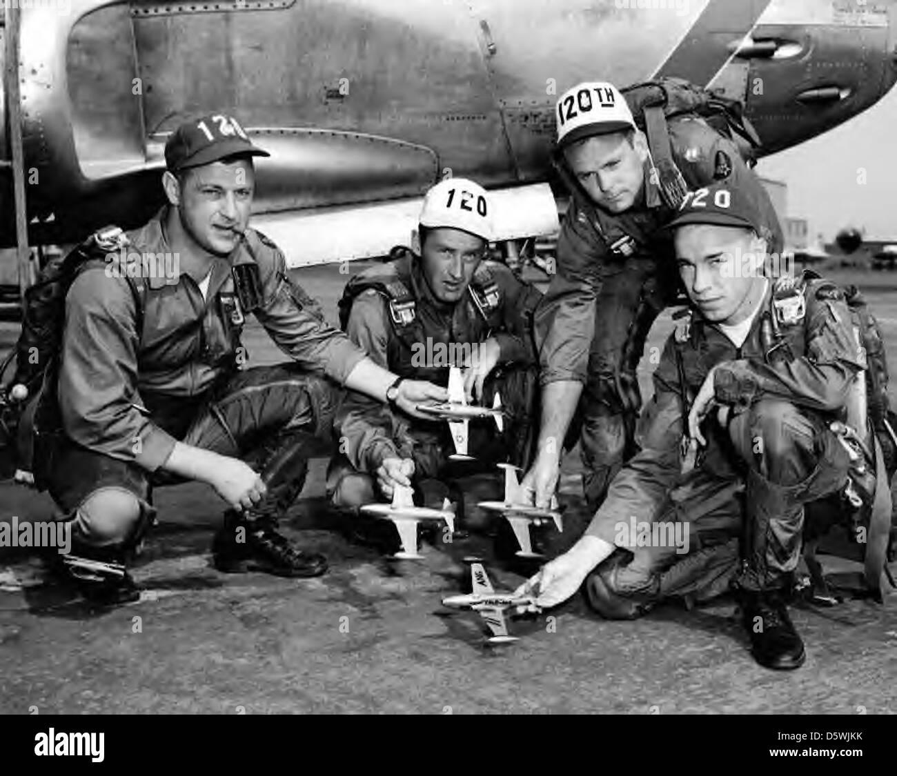 'Minute Men' ANG Jet Aerobatic Team along side their Lockheed F-80 'Shooting Star'. - Stock Image