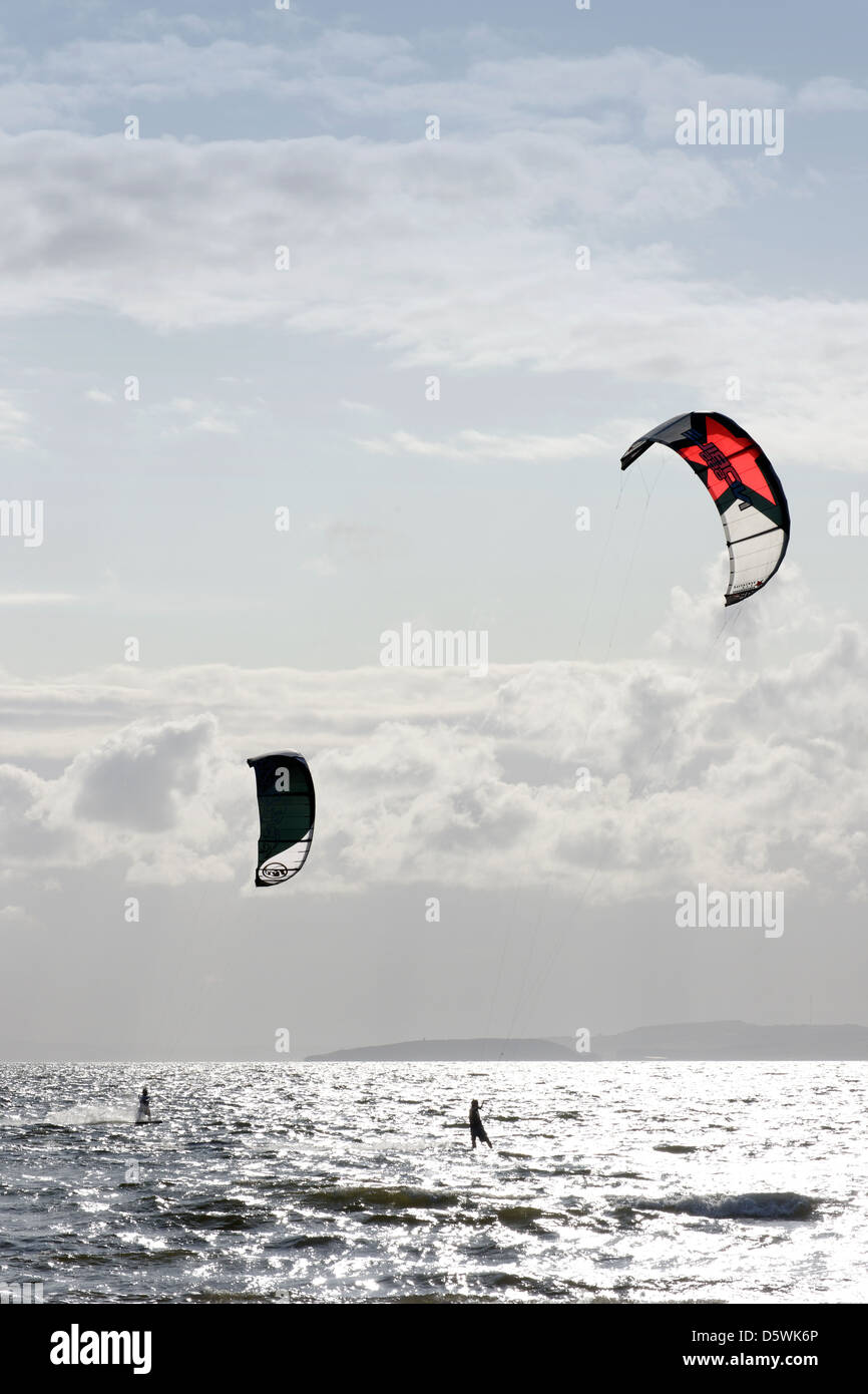 Kitesurfers off West Shore, Llandudno, North Wales, UK - Stock Image