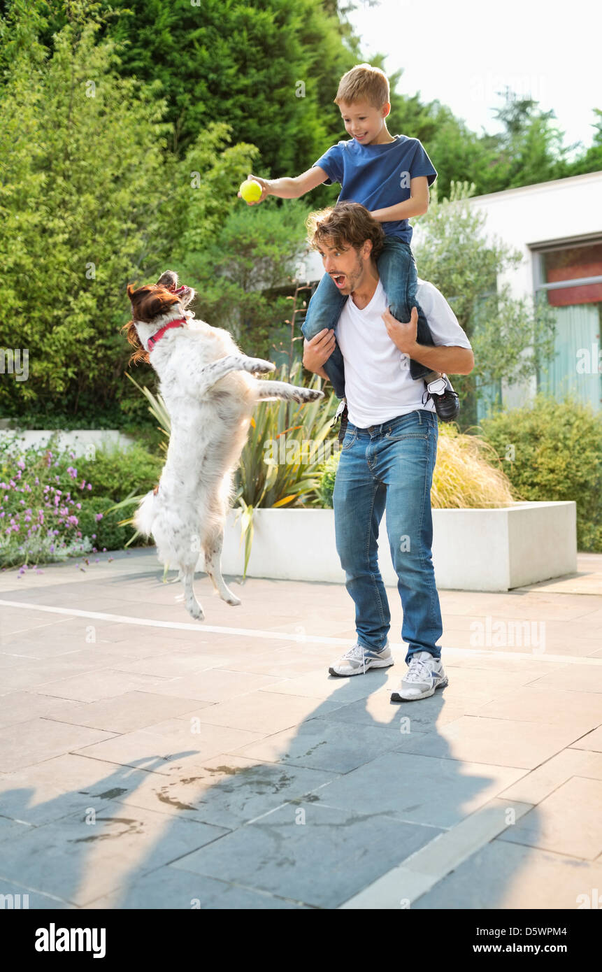 Father and son playing with dog outdoors - Stock Image
