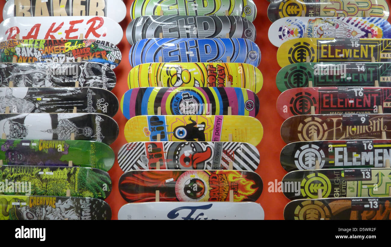Skateboards on Display - Stock Image