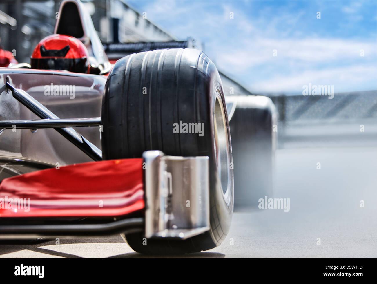 Race car sitting on track - Stock Image