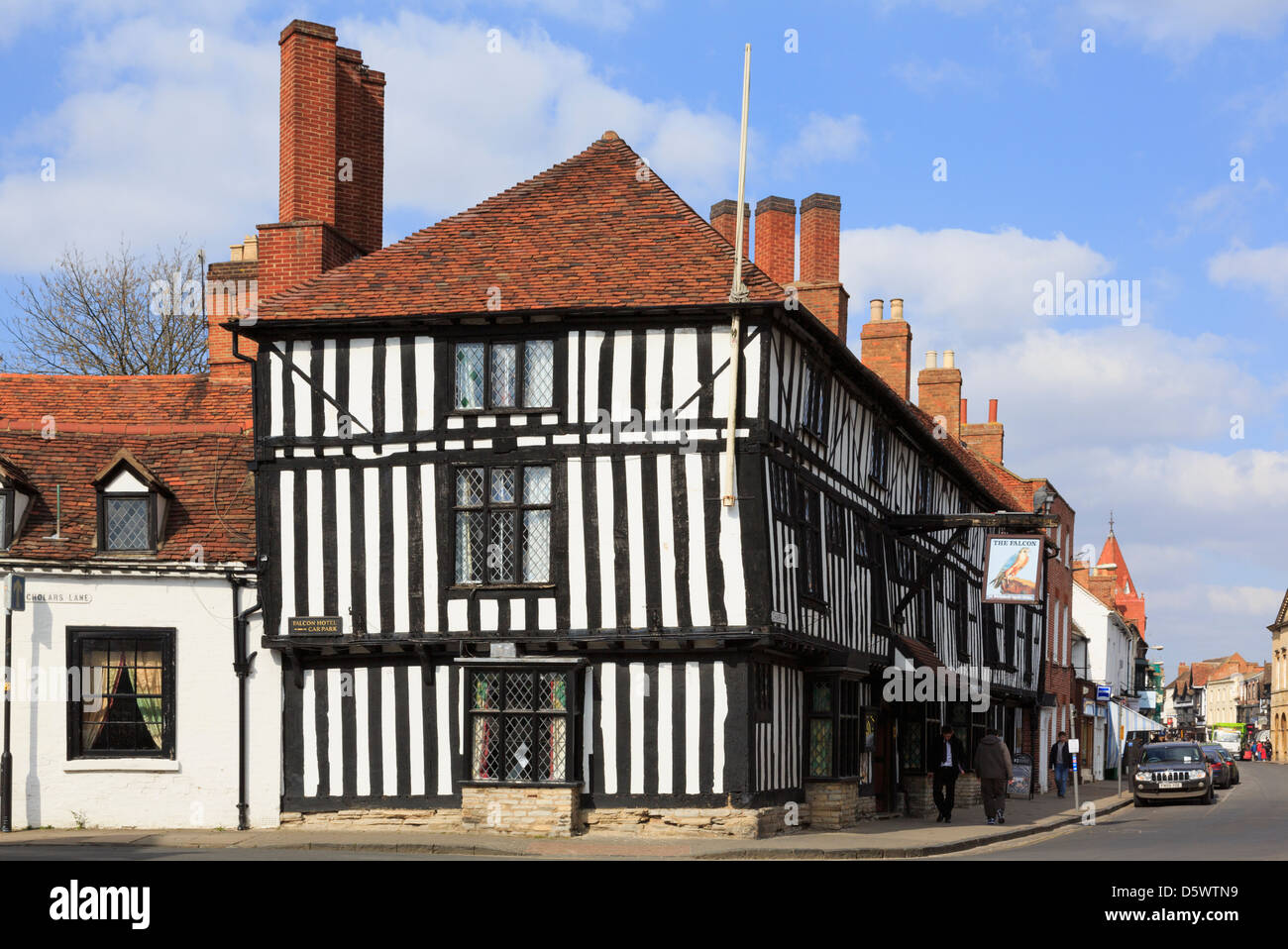 The Legacy Falcon Hotel is a 16th century black and white timbered building in Chapel Street, Stratford-upon-Avon, - Stock Image