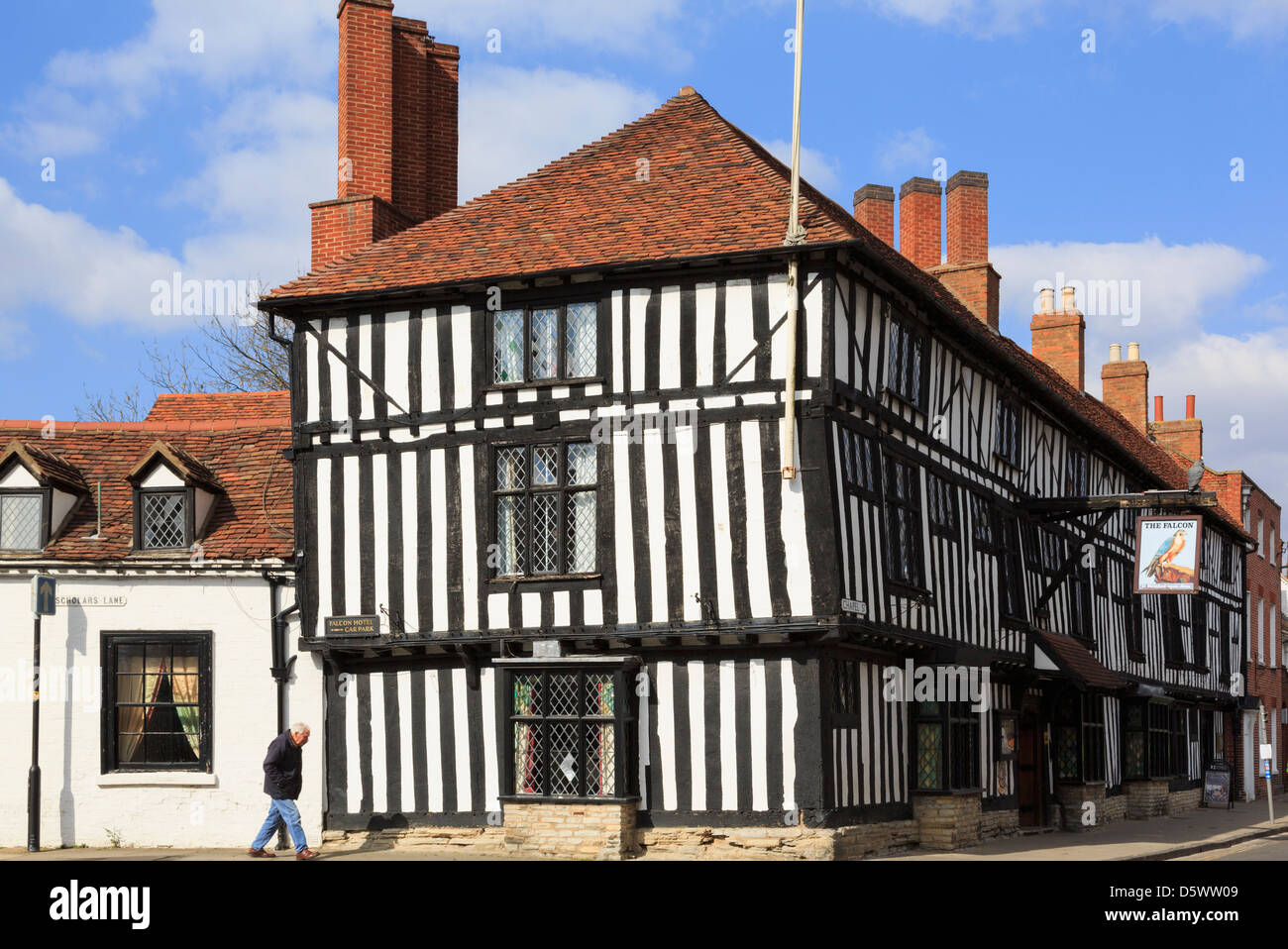The Legacy Falcon Hotel is a 16th century black and white timbered building in Stratford-upon-Avon, Warwickshire, - Stock Image