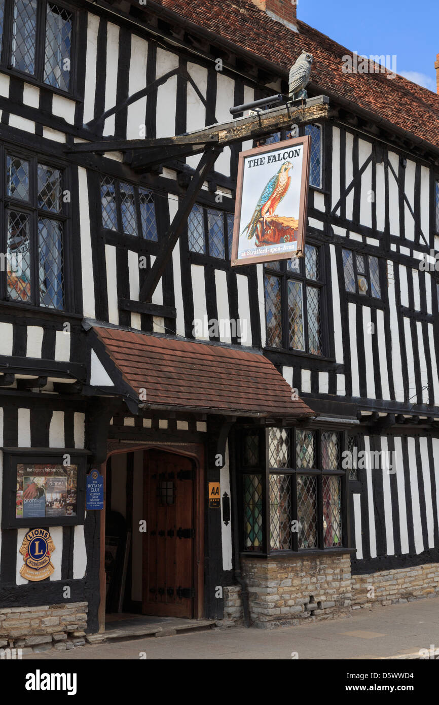 The Legacy Falcon Hotel 16th century black and white timbered building facade in Stratford-upon-Avon, Warwickshire, - Stock Image