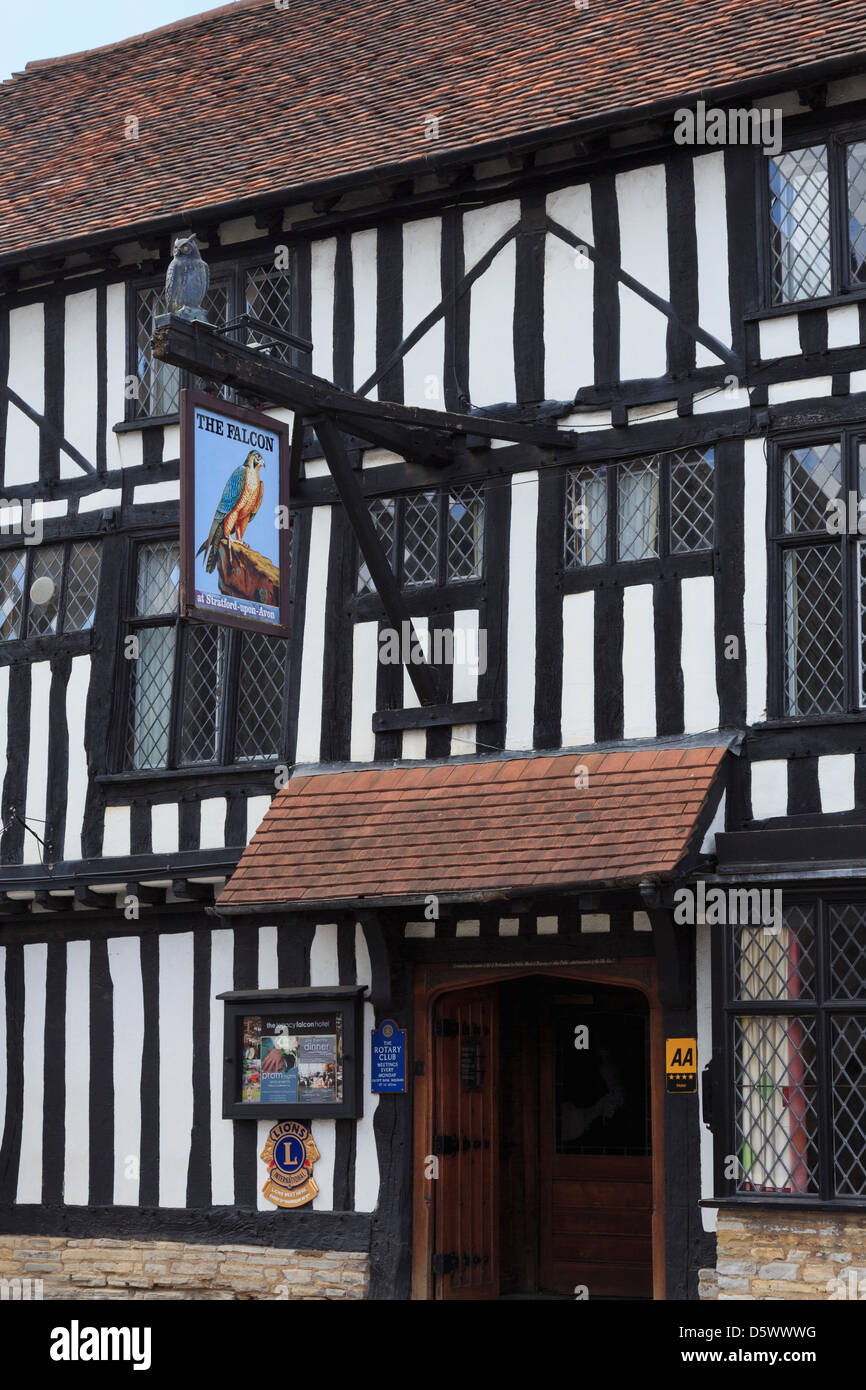 The Legacy Falcon Hotel 16th century black and white timbered building. Stratford-upon-Avon, Warwickshire, England, - Stock Image