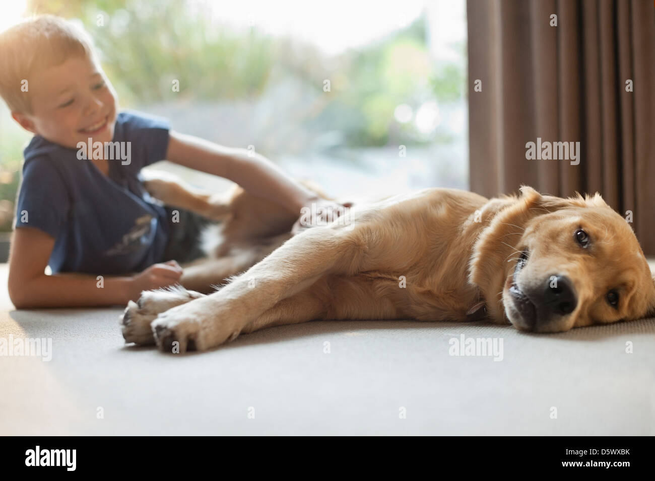 Smiling boy petting dog in living room - Stock Image