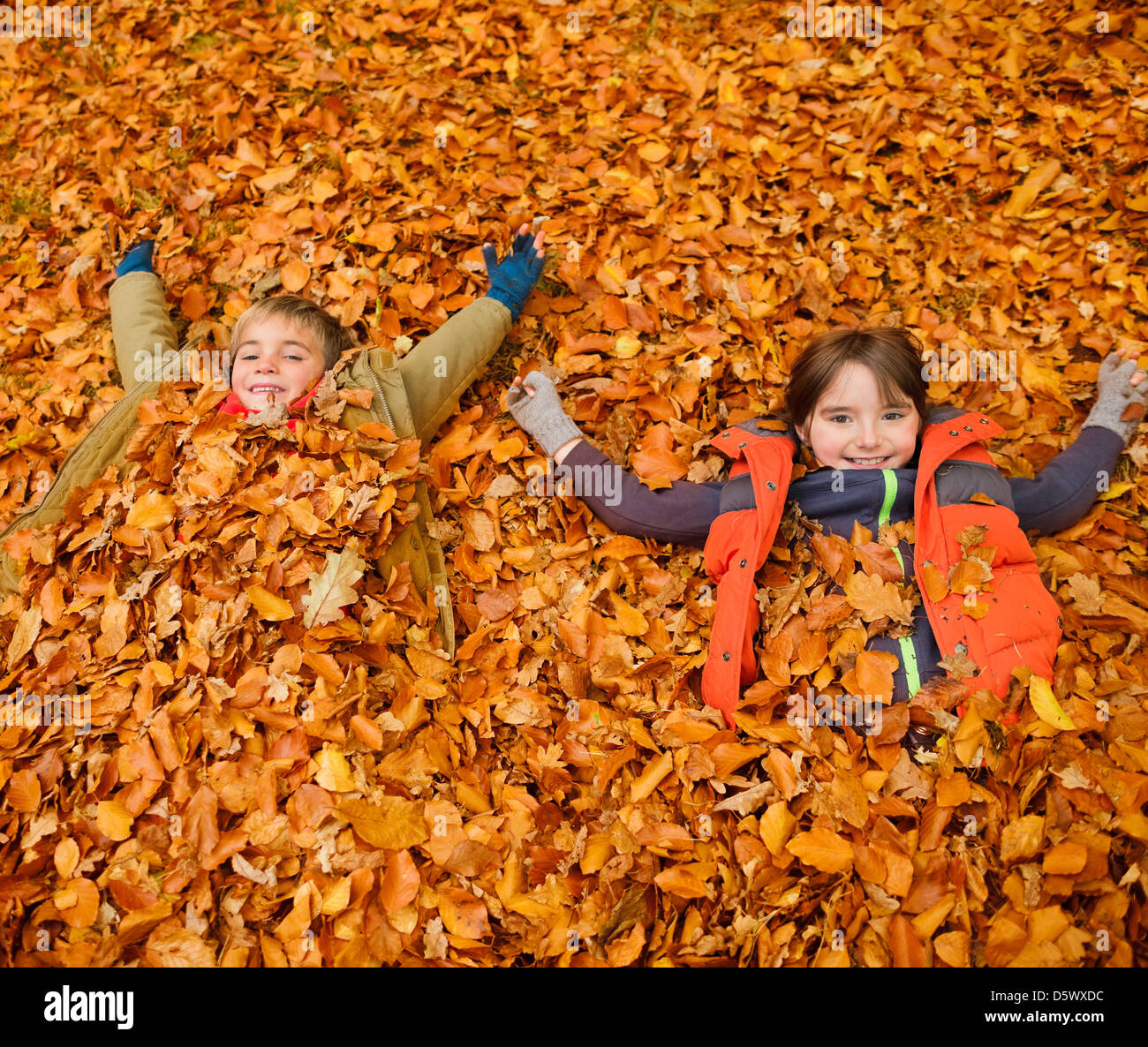 Children laying in autumn leaves Stock Photo