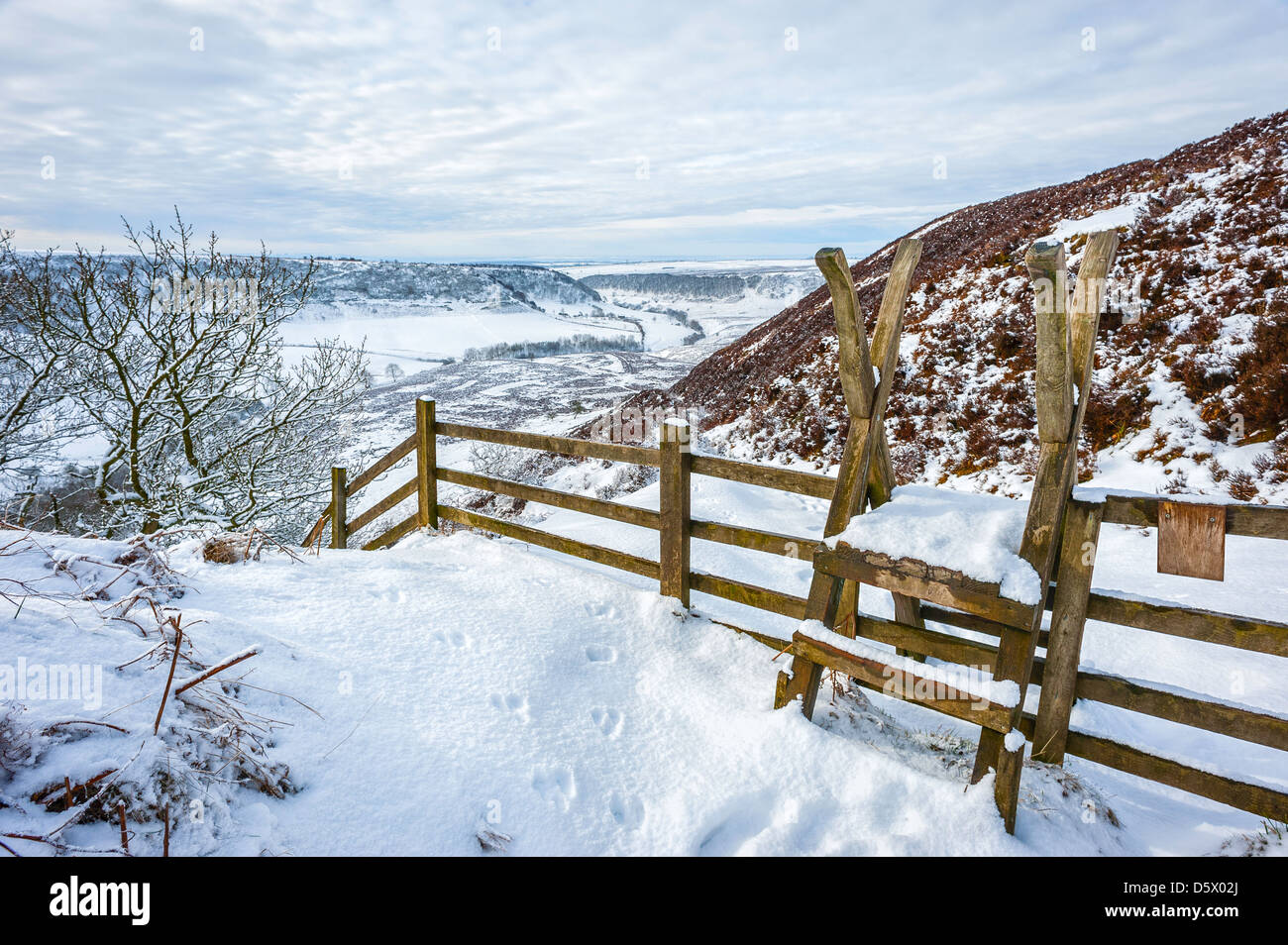 Rambler gate leading to Hole of Horcum on a beautiful winter landscape covered in snow near Goathland, Yorkshire, - Stock Image