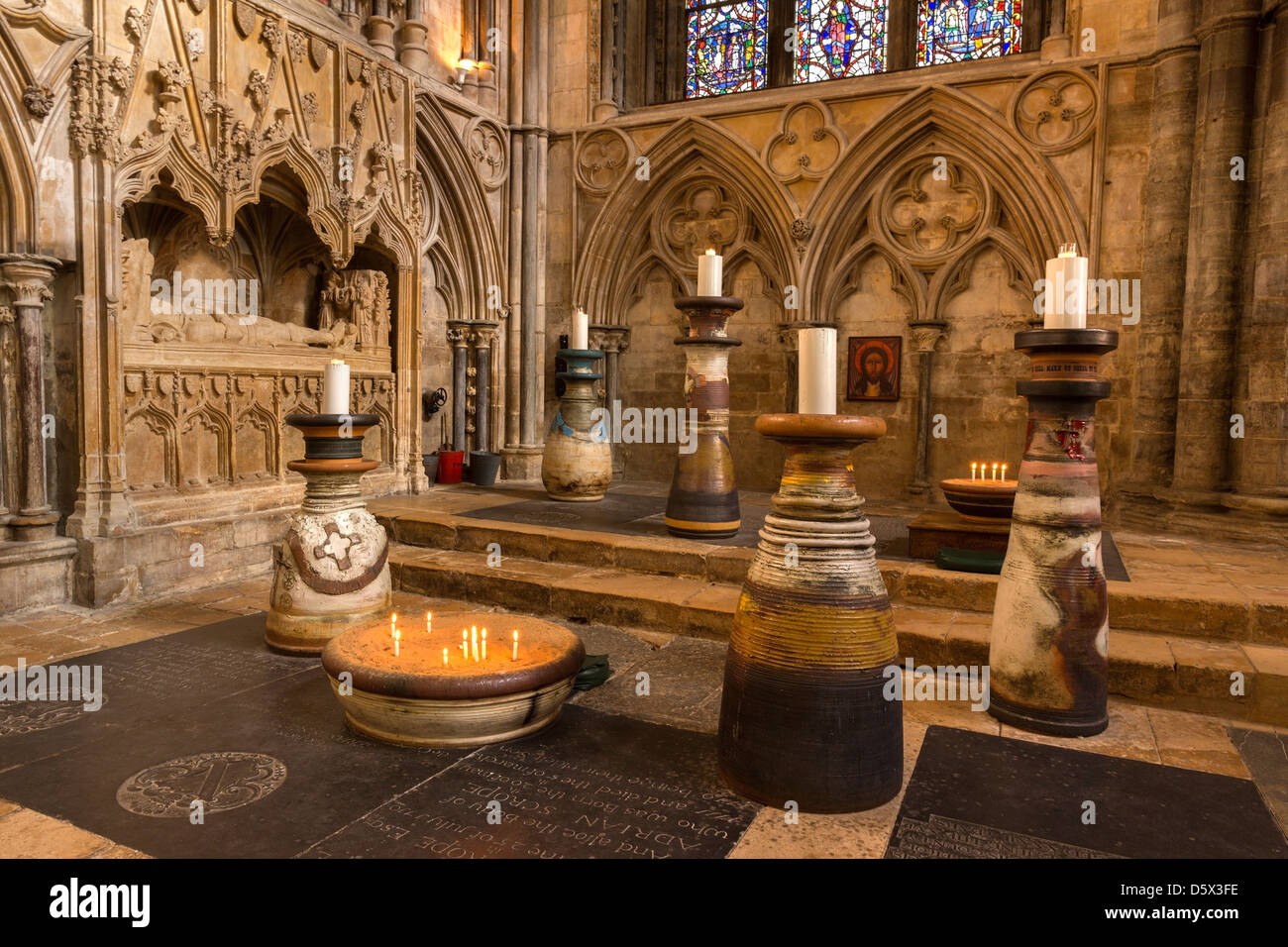 Huge Gilbert Pots candle holders in area of remembrance and prayer, Angel Choir, Lincoln Cathedral, Lincolnshire, - Stock Image