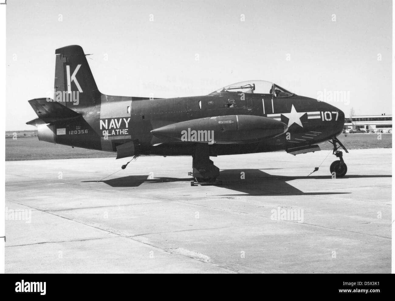 North American FJ-1 'Fury' of NARU Olathe at NAS Olathe, KS. - Stock Image