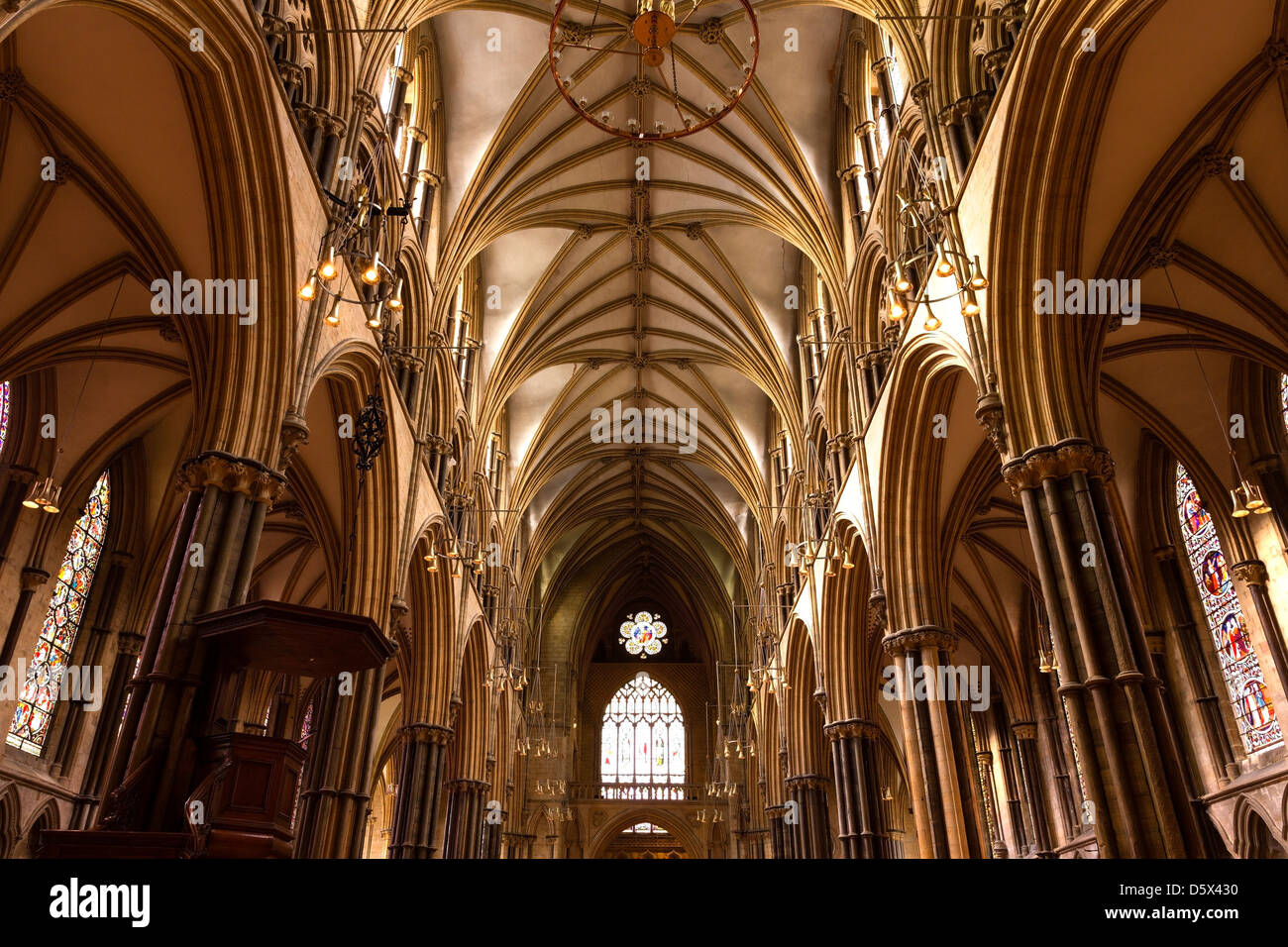 Pointed Gothic Masonry Arches Stone Pillars And Vaulted Ceilings Above The Nave Of Lincoln Cathedral Lincolnshire England UK