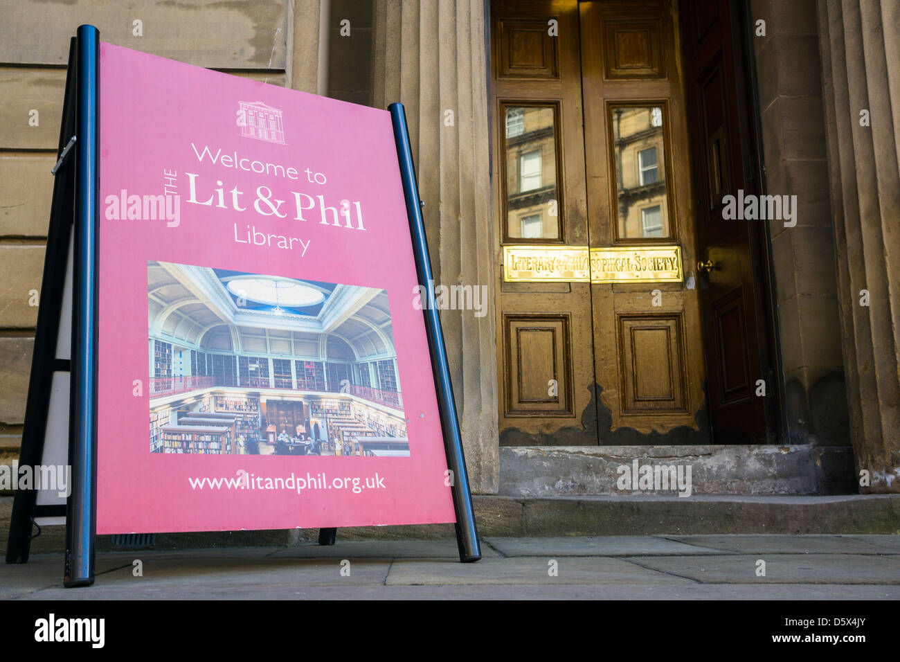 The Lit and Phil Library (Literary & Philosophical Society) in Newcastle is the largest independent library - Stock Image
