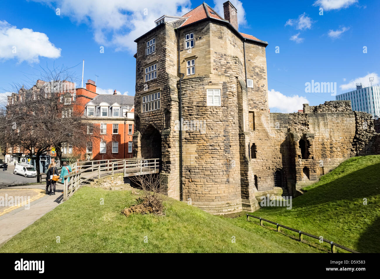 Newcastle Keep. The Castle is a medieval fortification in England, which gave the City of Newcastle its name. - Stock Image