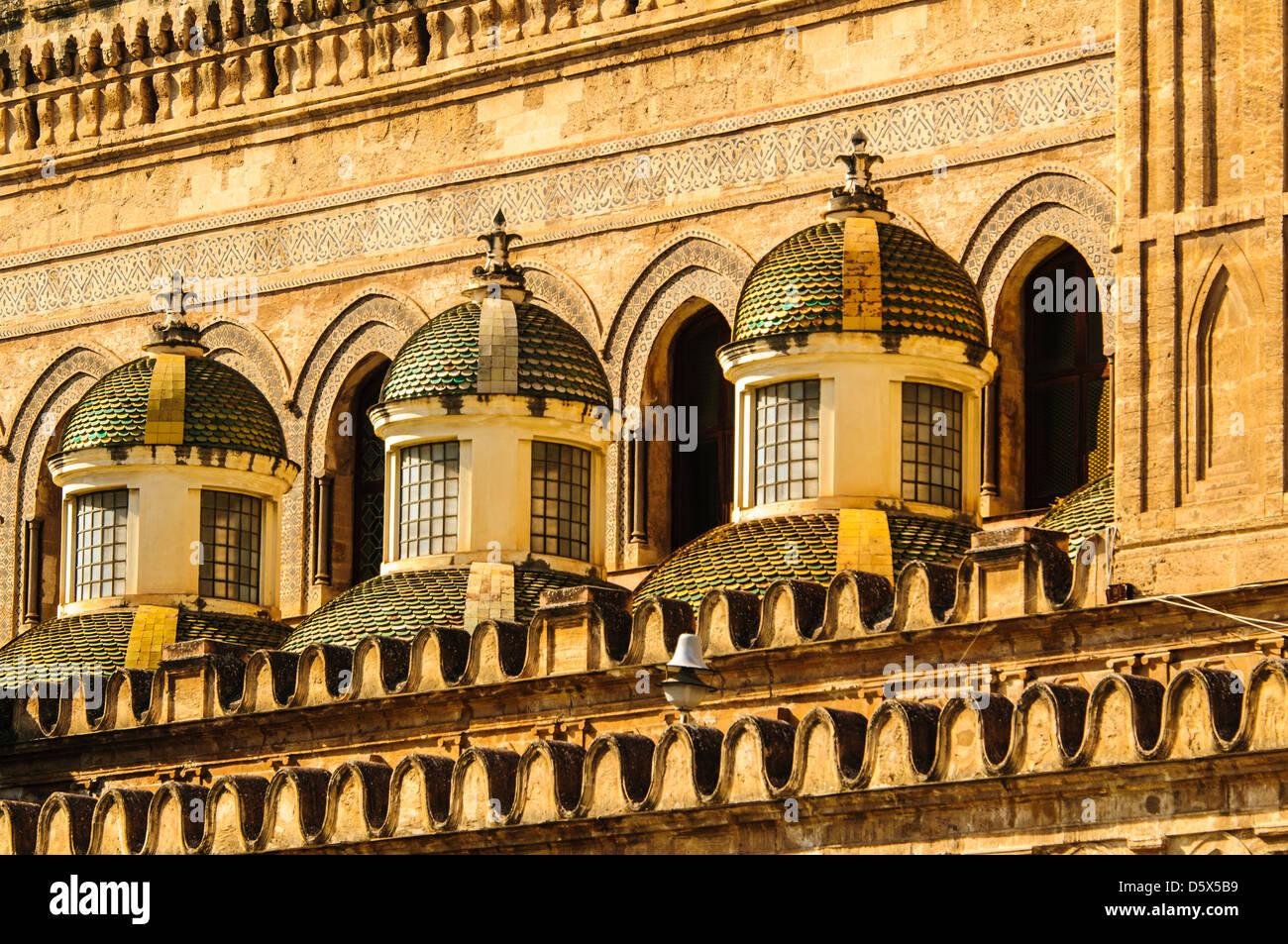 The Baroque small side cupolas by Ferdinando Fuga.Palermo Cathedral - Stock Image