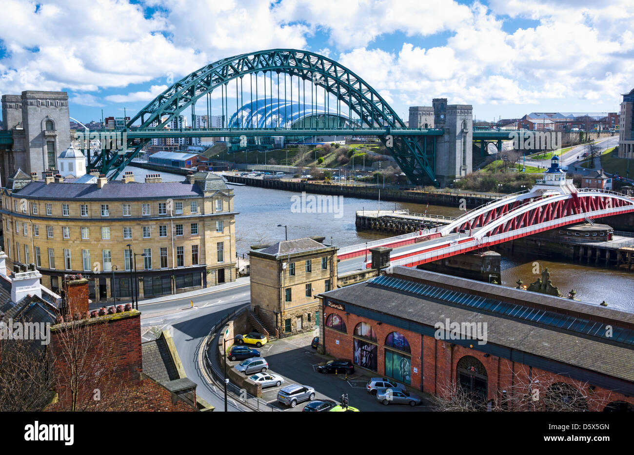The Swing & Tyne Bridge over the River Tyne at Newcastle. - Stock Image