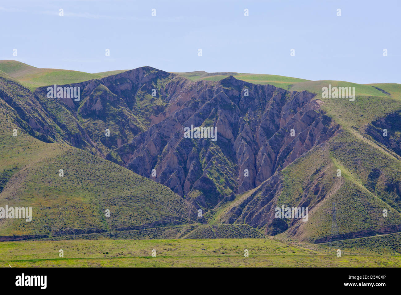 Hillside erosion, San Joaquin Valley, Kern County, California , USA - Stock Image