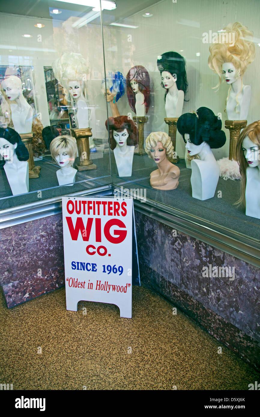 Wig store, Hollywood Blvd, Los Angeles, California, USA - Stock Image