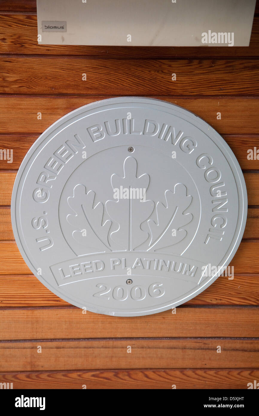 Leed (Leadership in Energy and Environmental Design) Platinum rating medallion - Stock Image