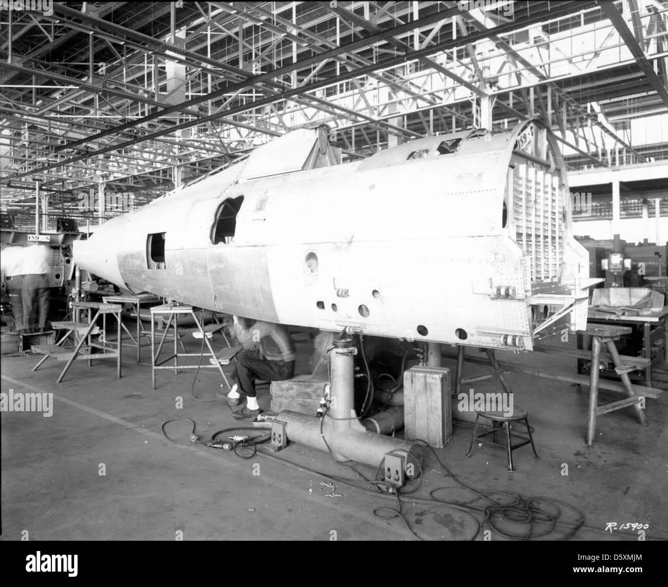 Republic P-47B 'Thunderbolt' fuselage construction. - Stock Image