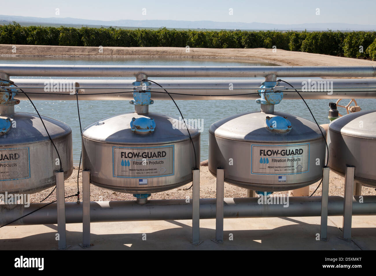 Vertical Sand Media Filters remove organic and inorganic contaminants in agricultural irrigation. San Joaquin Valley, - Stock Image