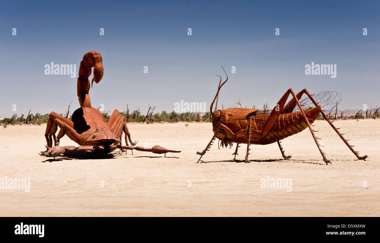 Scorpion vs. Grasshopper - Stock Image
