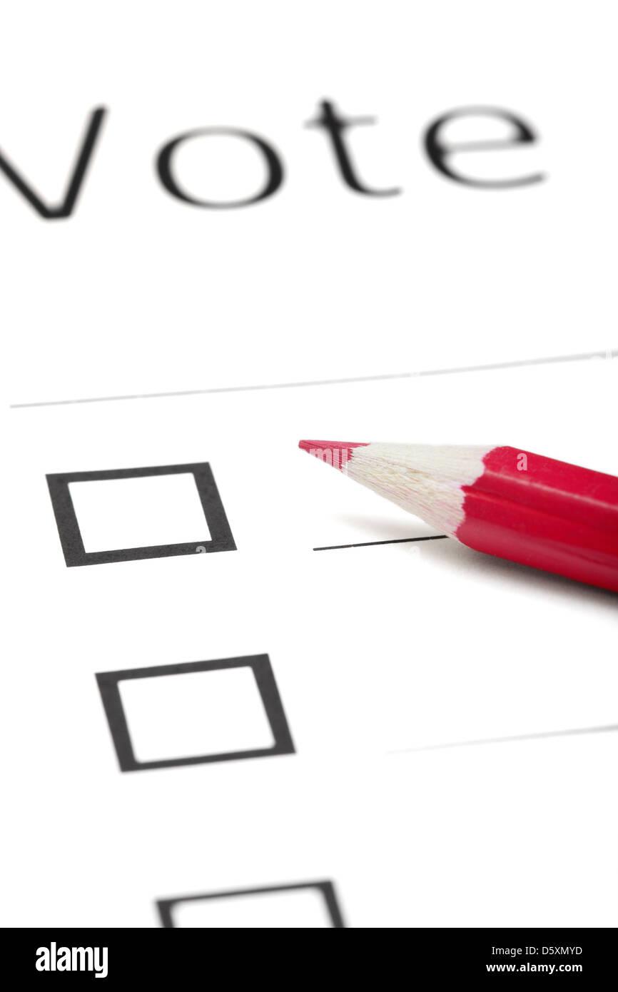 Voting bulletin - Stock Image