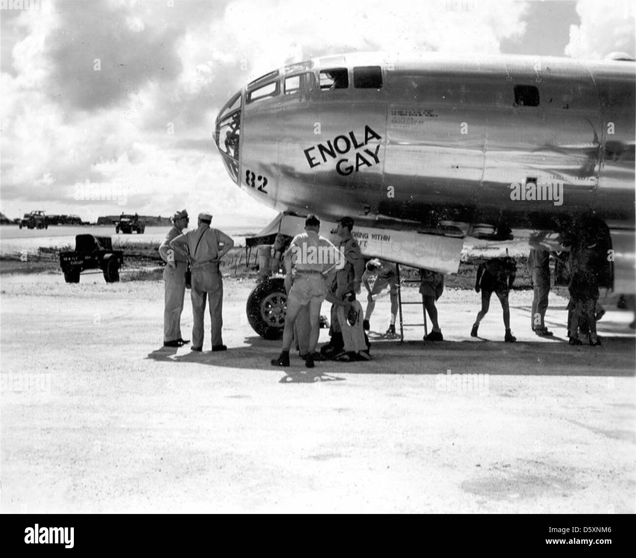 "The U.S.A.A.F. Martin-Omaha B-29-45-MO ""Superfortress"" ""Enola Gay"" prior to bombing mission. Stock Photo"