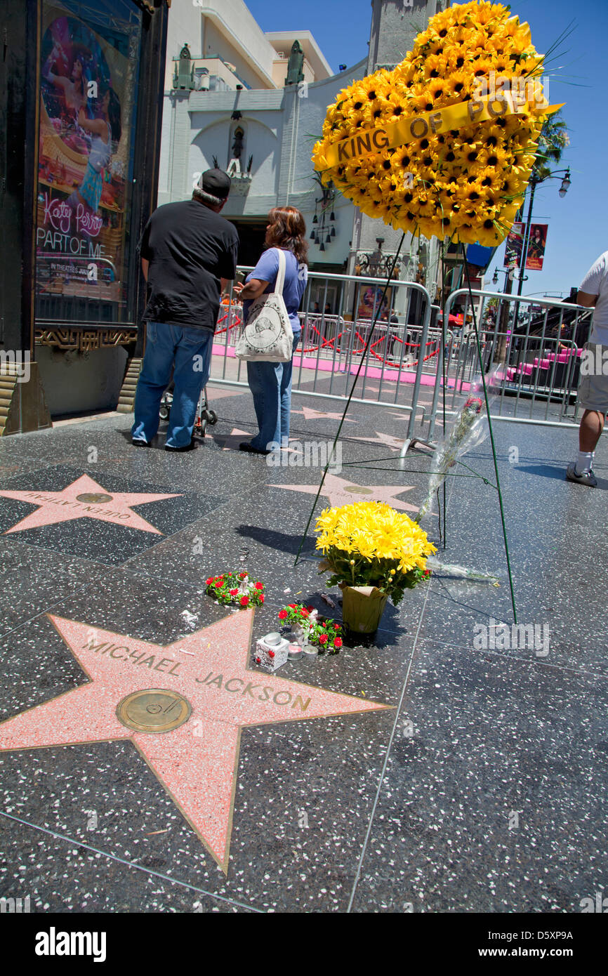 Michael Jackson star on Hollywood Walk of Fame, Hollywood Blvd, Los Angeles, California, USA - Stock Image