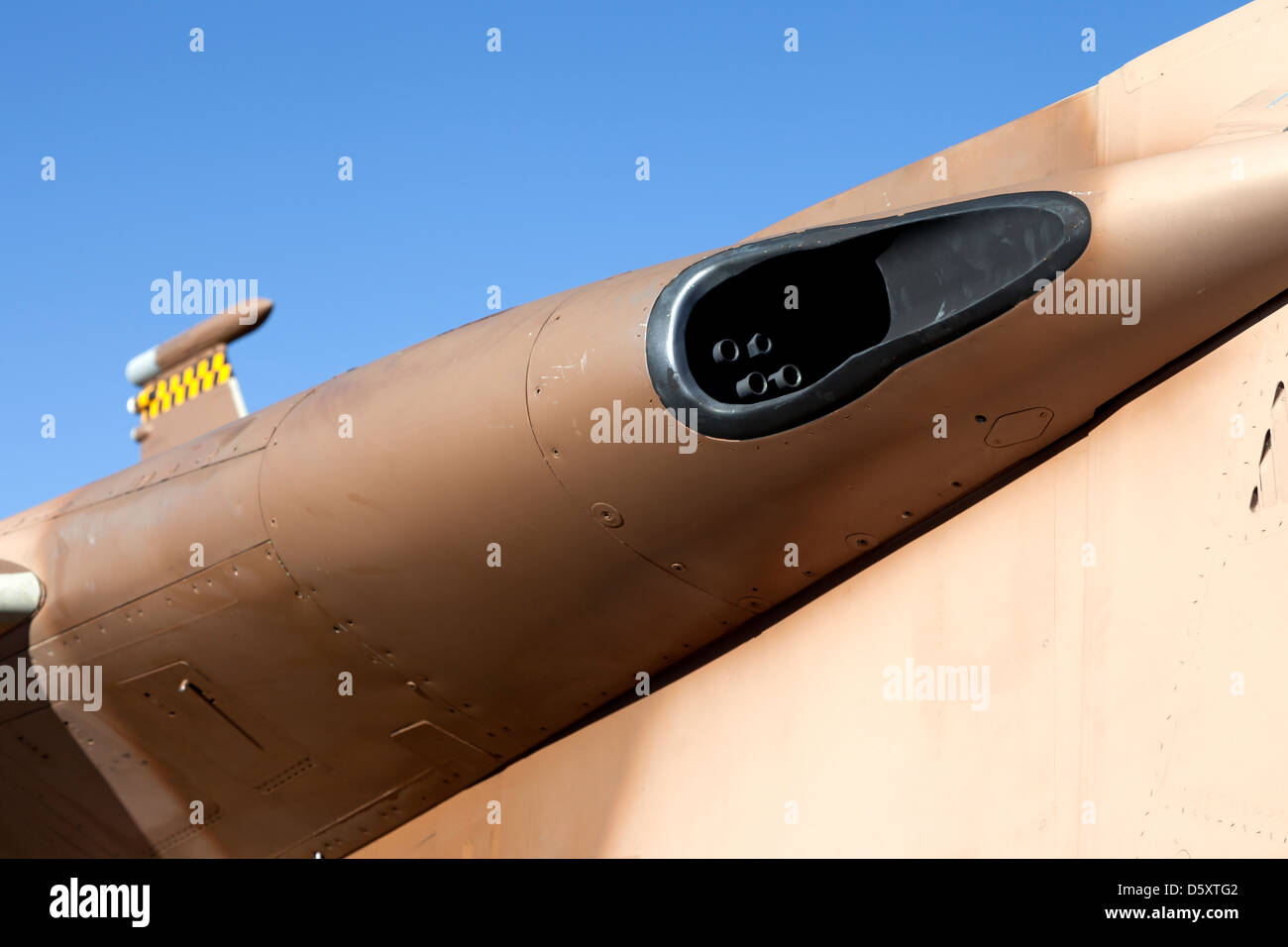 M61 Vulcan cannon peeks from the wing root of a F-15 Eagle of the 57th Adversary Tactics Group based at Nellis AFB. - Stock Image