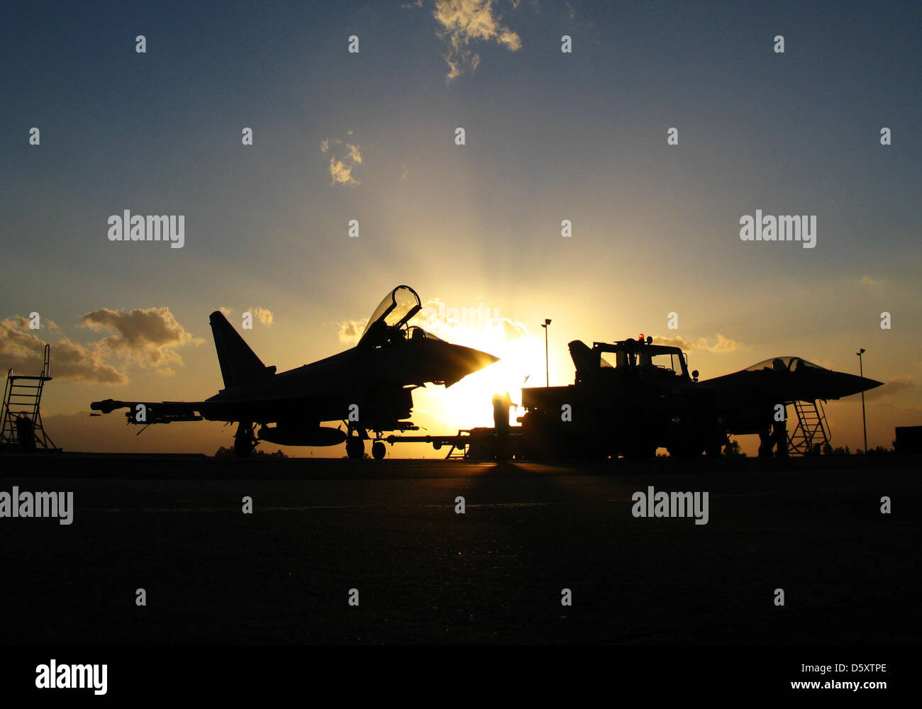 "German Air Force Eurofighter ""Typhoons"" at JG-74 in Deci, Sardinnia. Stock Photo"