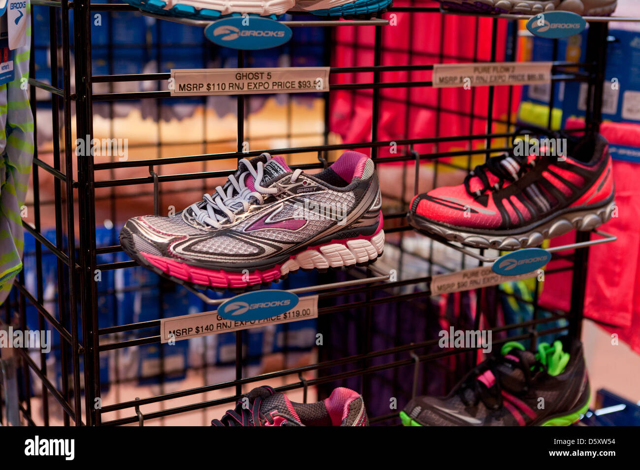 New running shoes on display Stock Photo