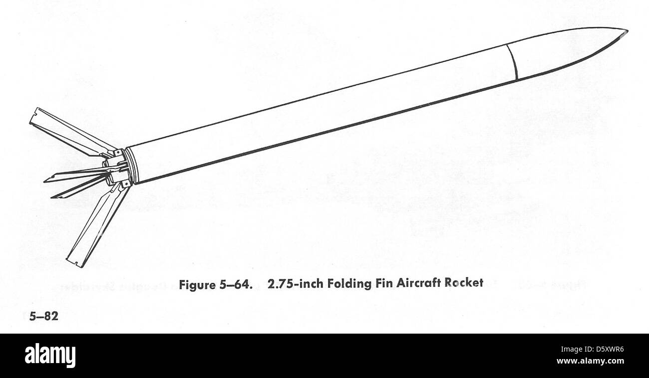 The 2.5-inch Folding Fin Aircraft Rocket (FFAR), also known as 'Mighty Mouse'. This rocket is the one you - Stock Image