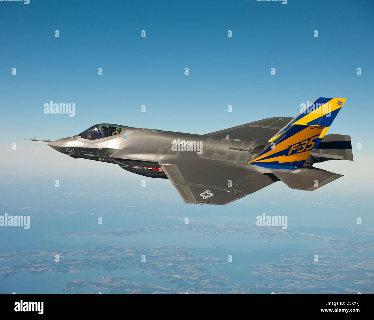 The U.S. Navy variant of the F-35 Joint Strike Fighter, the F-35C. - Stock Image