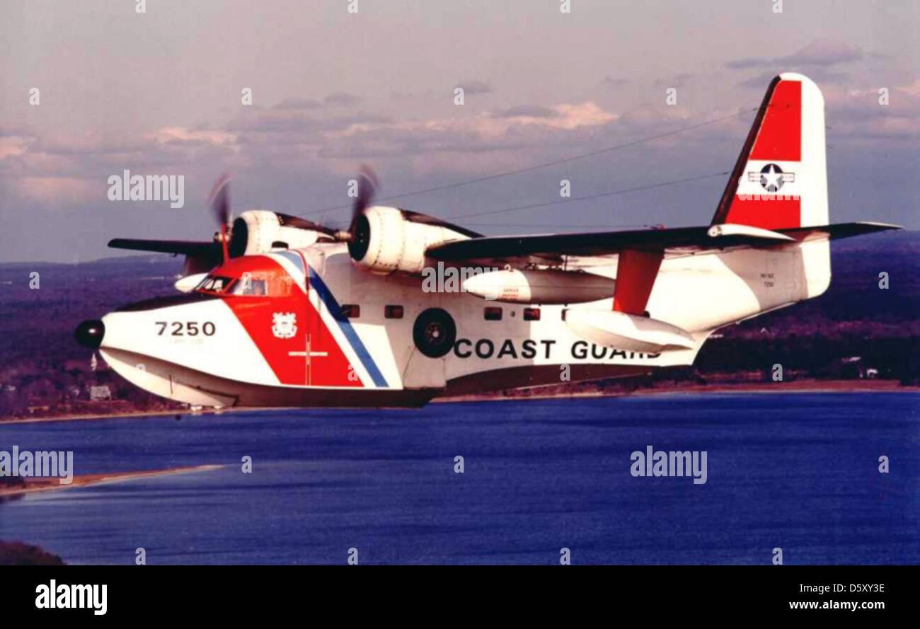 "Coast Guard Grumman HU-16E ""Albatross"" from USCG Air Station Cape Cod, Massachusetts. Stock Photo"