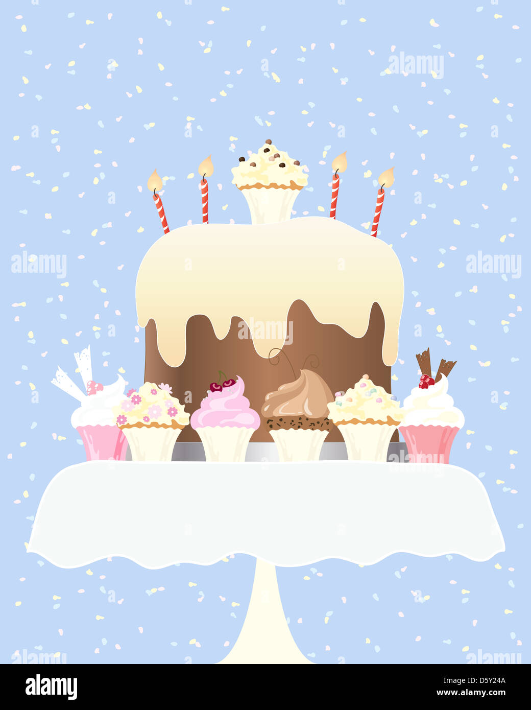 an illustration of a big birthday cake with candles and