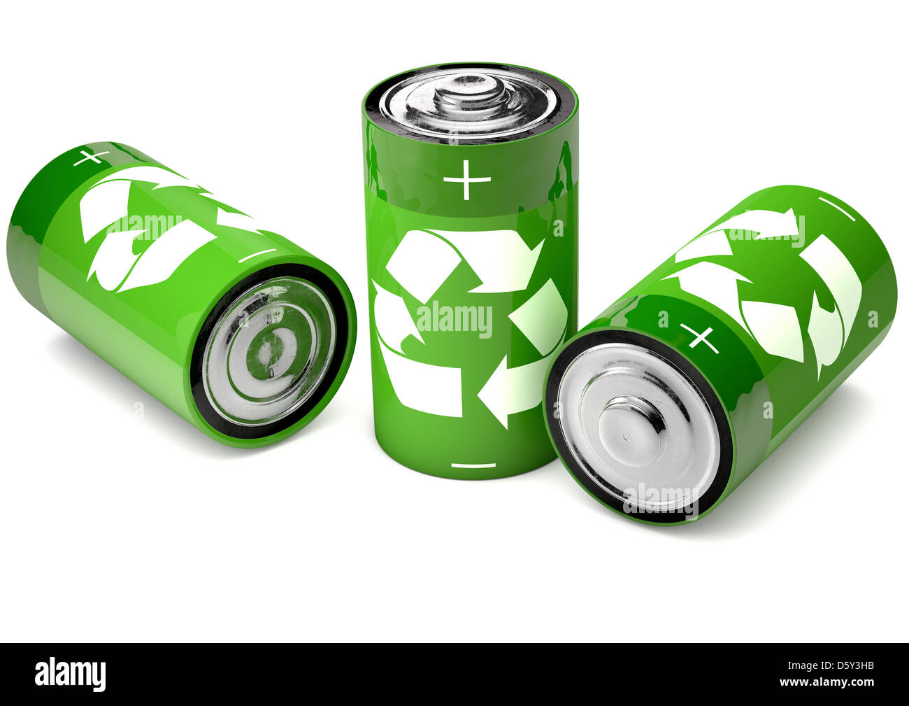 Recycling energy saving concept, batteries with a recycle symbol - Stock Image