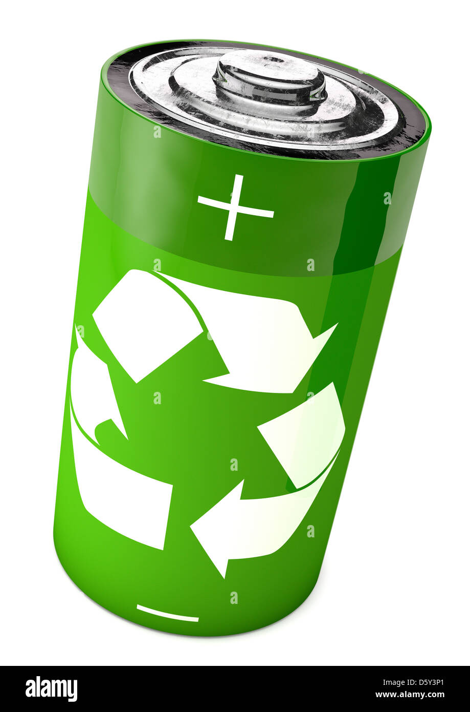 Battery with a recycling symbol - Concept - Stock Image