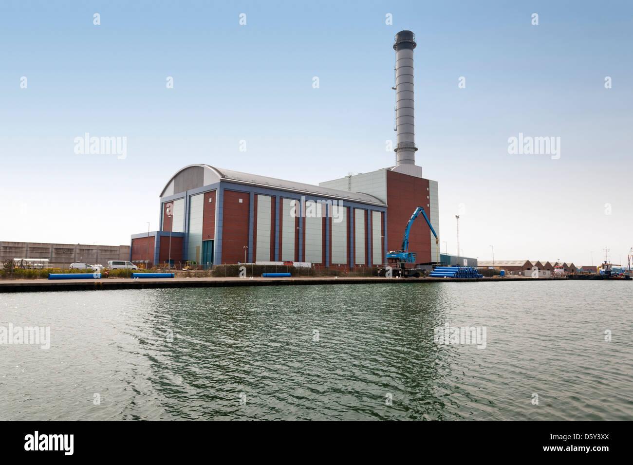 Shoreham gas-fired power station on the River Adur, Shoreham, East Sussex, UK - Stock Image