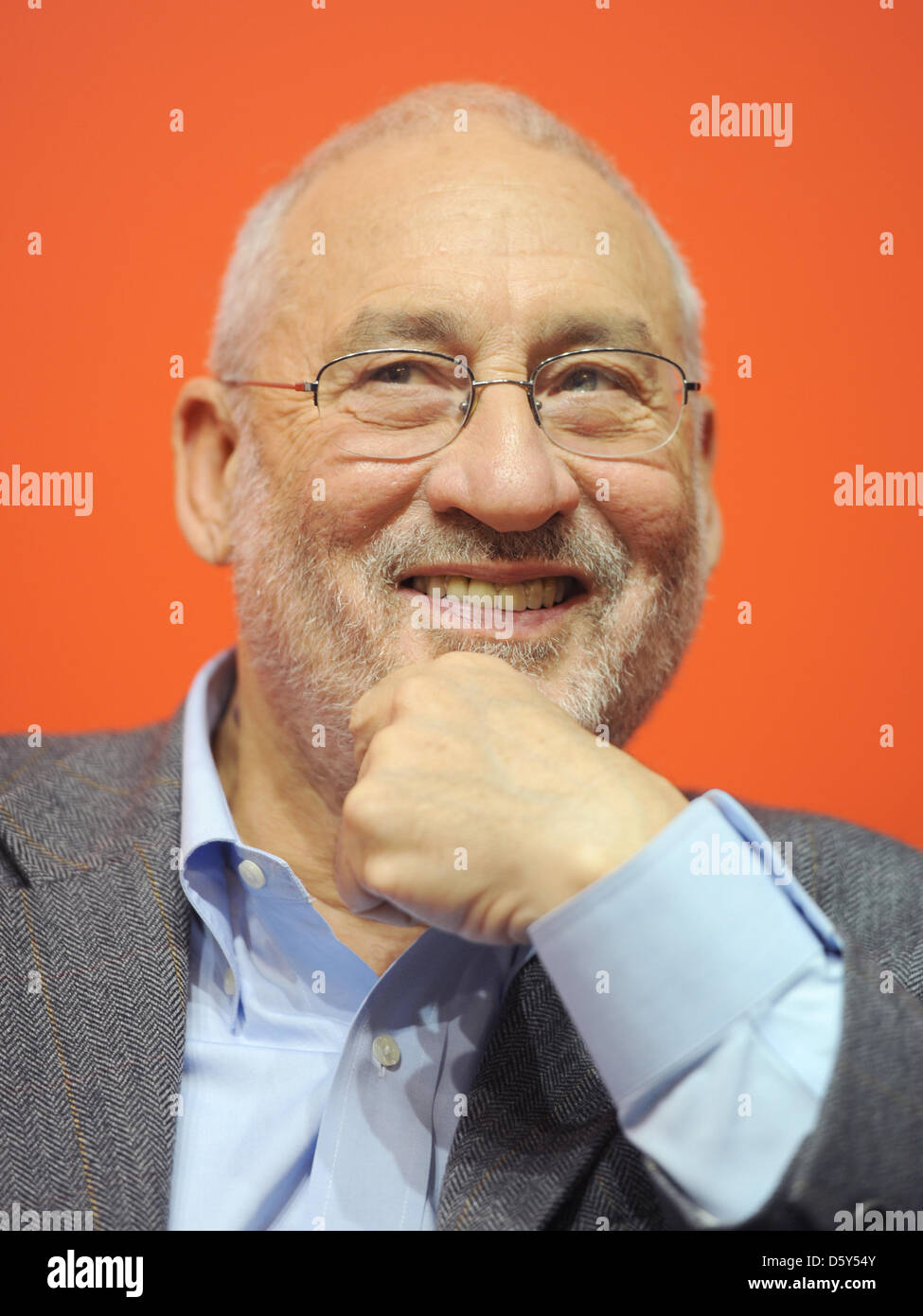 Nobel Prize laureate in Economic Sciences, Joseph Stiglitz, sits at the exhibition booth of the newspaper Vorwaerts Stock Photo